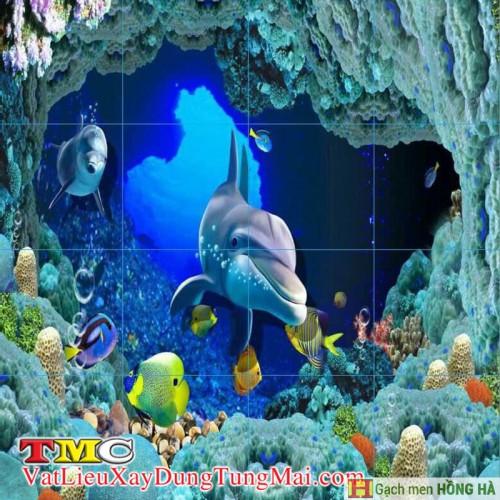 Gạch tranh 3D TMC Tùng Mai Ceramics - Tranh cá heo không viền