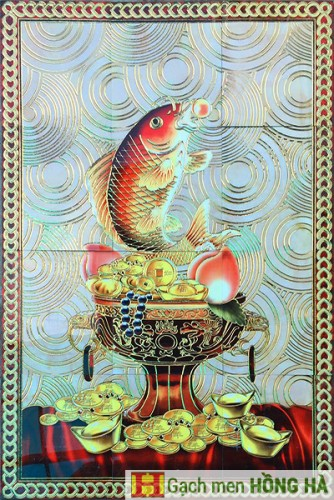 Gạch tranh TMC Tùng Mai Ceramics - Cá Chép Vàng Ngậm Ngọc 90 x 120cm