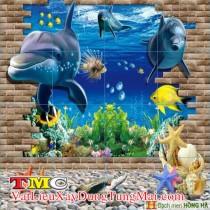Gạch tranh 3D TMC Tùng Mai Ceramics - Tranh cá heo có viền