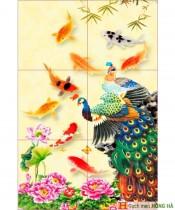Gạch tranh TMC Tùng Mai Ceramics - Gạch tranh Công và Cá