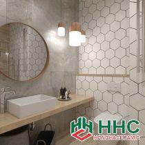 Gạch lục giác màu xám ốp nhà tắm đẹp 26